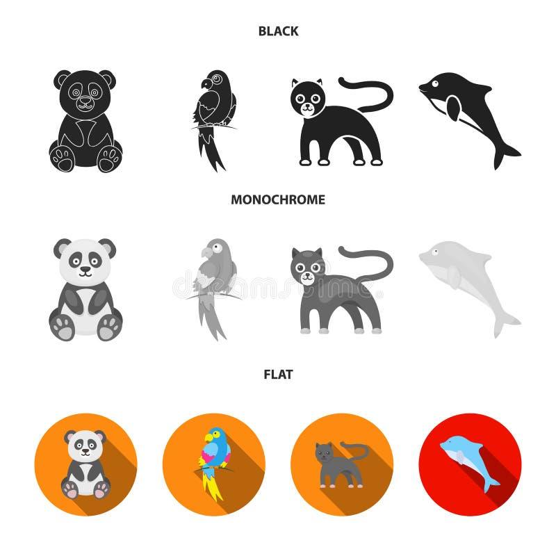Panda popugay, pantera, delfin Zwierzę ustalone inkasowe ikony w czarnym, płaski, monochromu symbolu stylowy wektorowy zapas royalty ilustracja