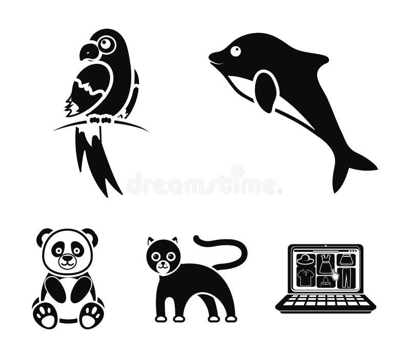 Panda popugay, pantera, delfin Zwierzę ustalone inkasowe ikony w czerń stylu wektorowym symbolu zaopatrują ilustracyjną sieć royalty ilustracja
