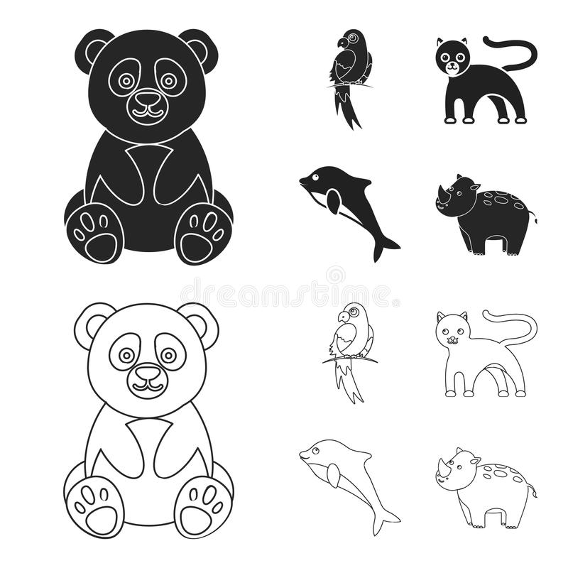 Panda popugay, pantera, delfin Zwierzę ustalone inkasowe ikony w czerni, konturu symbolu zapasu ilustraci stylowa wektorowa sieć ilustracja wektor