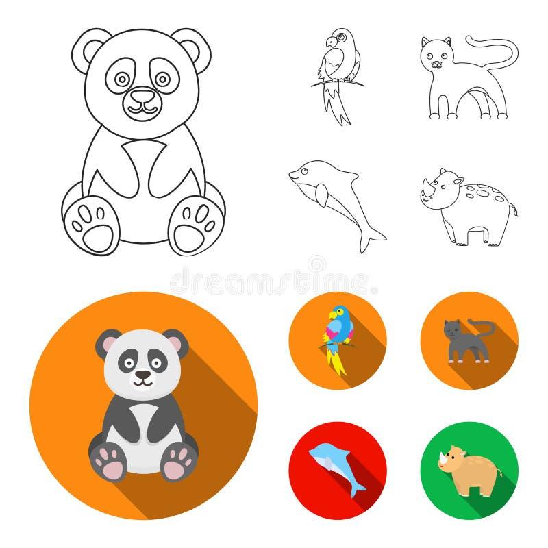 Panda popugay, pantera, delfin Zwierzę ustalone inkasowe ikony w konturze, mieszkanie symbolu zapasu ilustraci stylowa wektorowa  royalty ilustracja