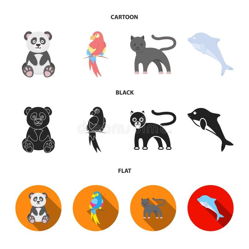 Panda popugay, pantera, delfin Zwierzę ustalone inkasowe ikony w kreskówce, czerń, mieszkanie symbolu zapasu stylowa wektorowa il ilustracji