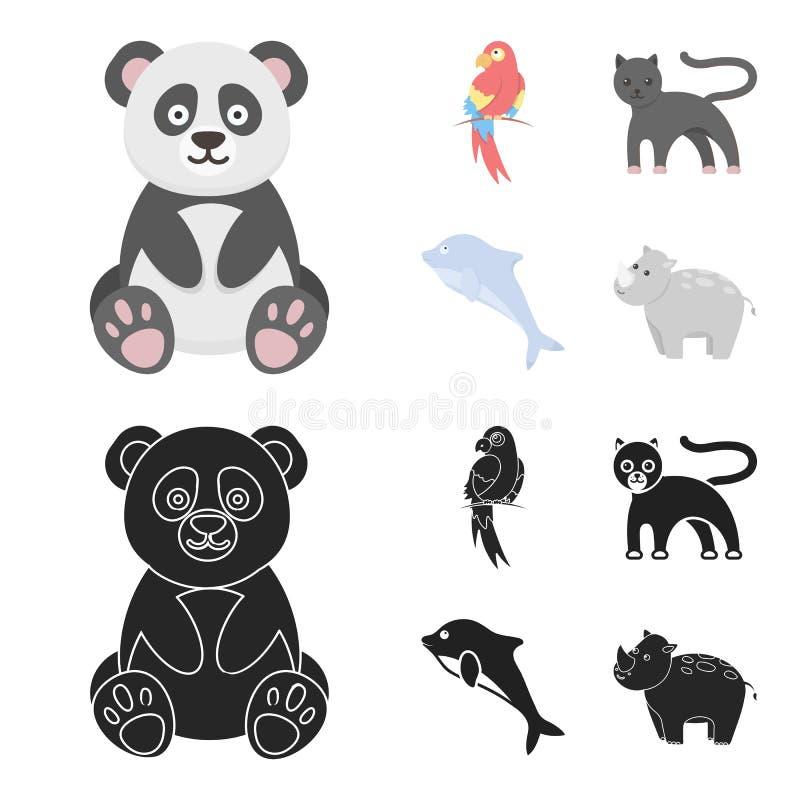 Panda popugay, pantera, delfin Zwierzę ustalone inkasowe ikony w kreskówce, czerń symbolu zapasu ilustraci stylowa wektorowa sieć ilustracji