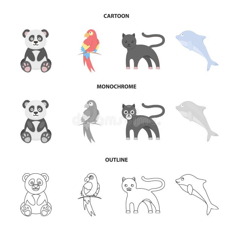 Panda popugay, pantera, delfin Zwierzę ustalone inkasowe ikony w kreskówce, kontur, monochromu symbolu stylowy wektorowy zapas ilustracji