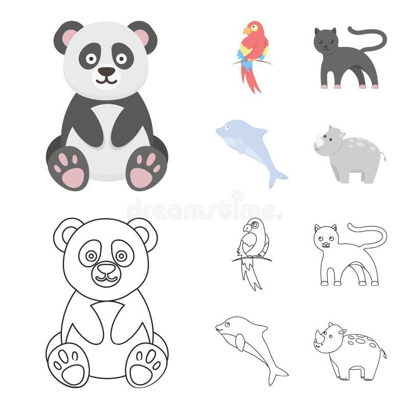 Panda popugay, pantera, delfin Zwierzę ustalone inkasowe ikony w kreskówce, konturu symbolu zapasu stylowa wektorowa ilustracja ilustracji