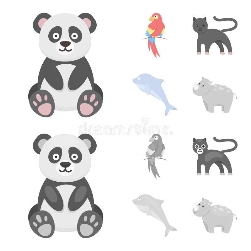 Panda popugay, pantera, delfin Zwierzę ustalone inkasowe ikony w kreskówce, monochromu symbolu zapasu stylowa wektorowa ilustracj royalty ilustracja