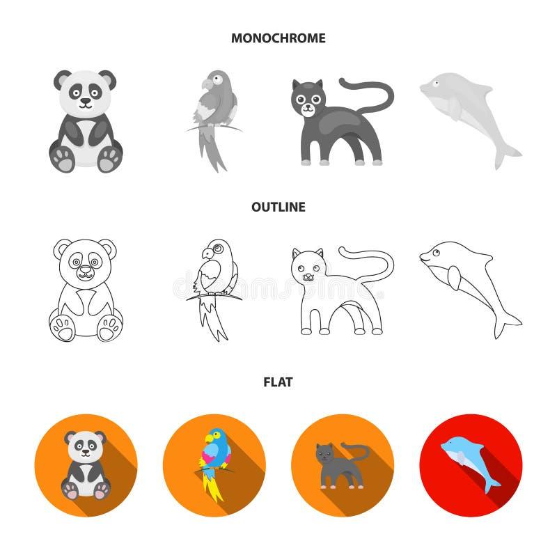 Panda popugay, pantera, delfin Zwierzę ustalone inkasowe ikony w mieszkaniu, kontur, monochromu symbolu stylowy wektorowy zapas royalty ilustracja
