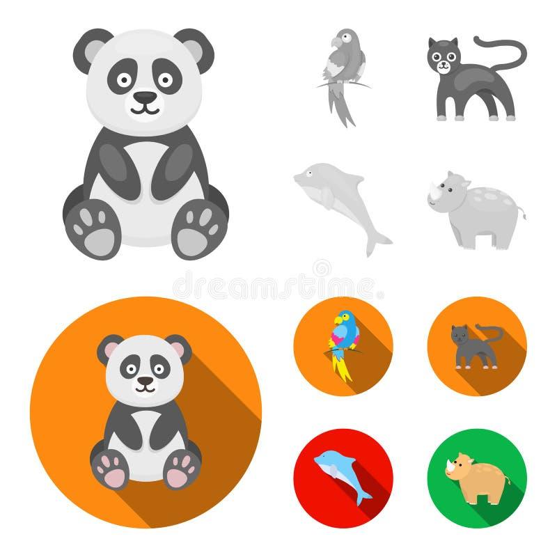 Panda popugay, pantera, delfin Zwierzę ustalone inkasowe ikony w monochromu, mieszkanie symbolu zapasu stylowa wektorowa ilustrac royalty ilustracja