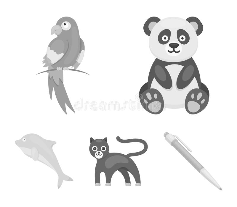 Panda popugay, pantera, delfin Zwierzę ustalone inkasowe ikony w monochromu stylu wektorowym symbolu zaopatrują ilustracyjną sieć ilustracji