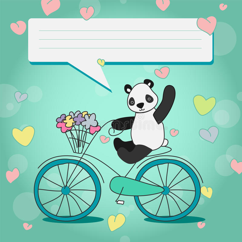 Panda positiva com o ramalhete na bicicleta ilustração stock