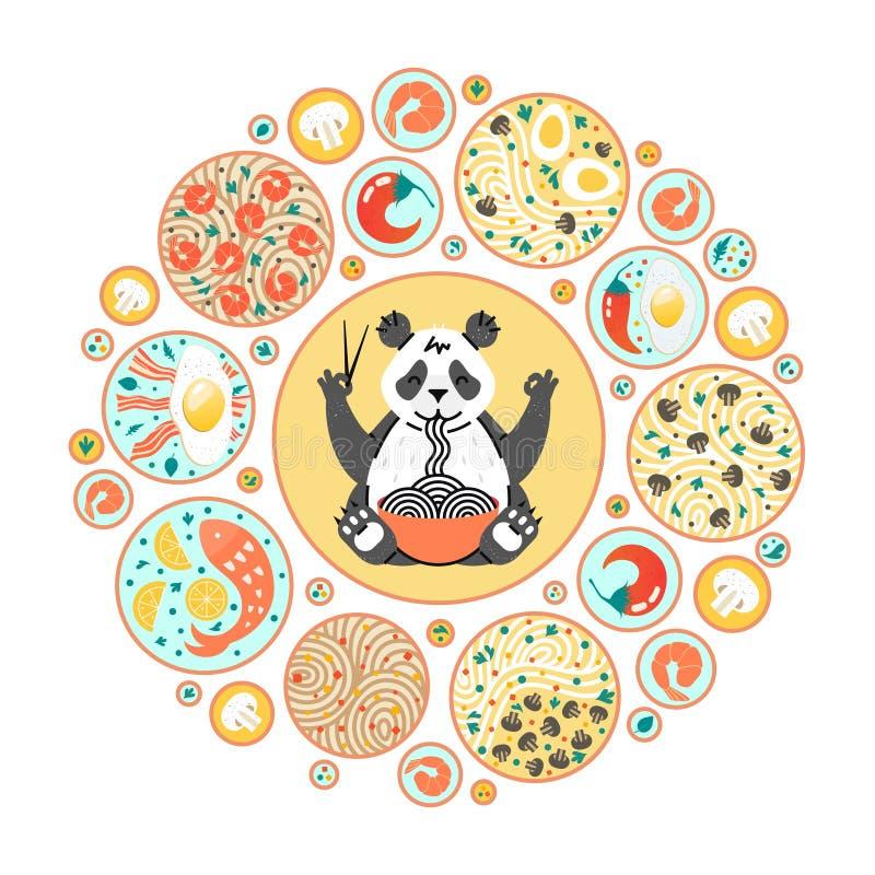 Panda que come los tallarines con los palillos Platos chinos en las placas Visión superior Composición del círculo con diversa co ilustración del vector