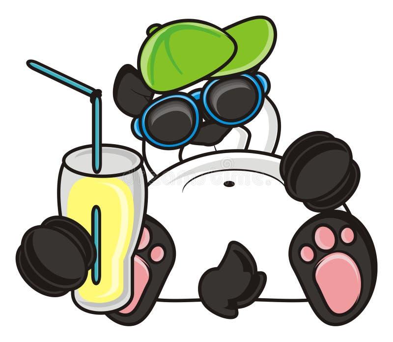 Panda que guarda um vidro com uma bebida ilustração do vetor