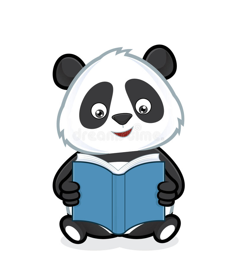 Panda que lê um livro ilustração do vetor