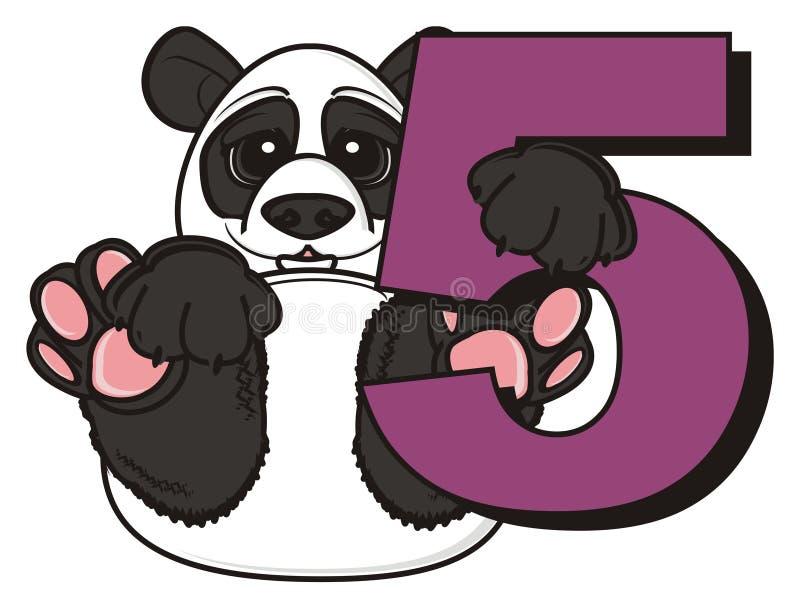 Panda que se sienta cerca del número cinco libre illustration