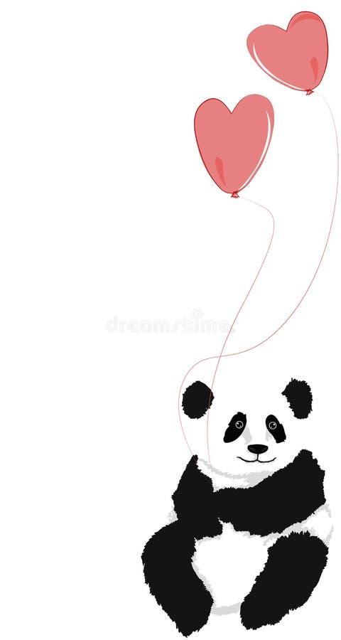 Panda que senta-se com os 2 balões do coração ilustração stock