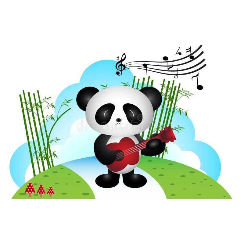 Panda que toca la guitarra en el parque ilustración del vector