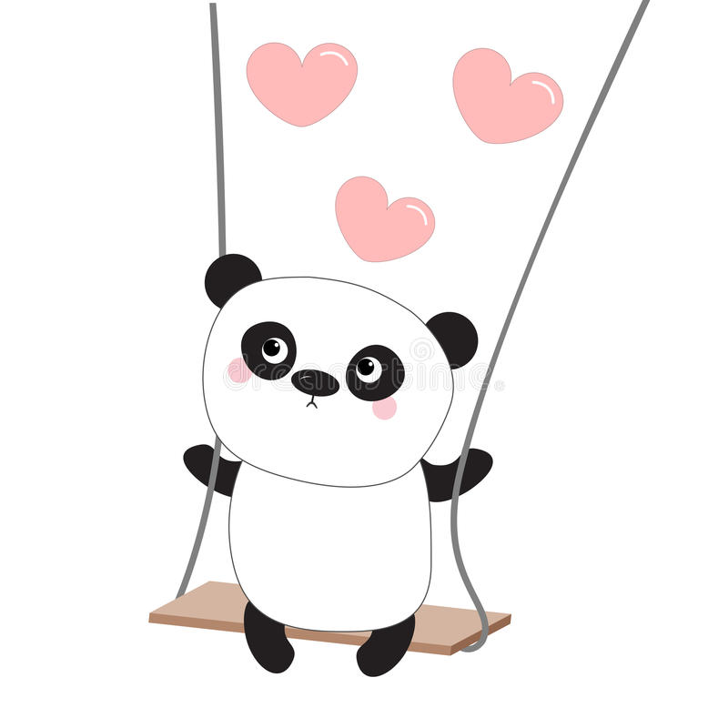 Panda Ride On The Swing Pink Flying Hearts Happy Valentines Day