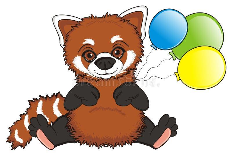 Panda roja con los globos ilustración del vector