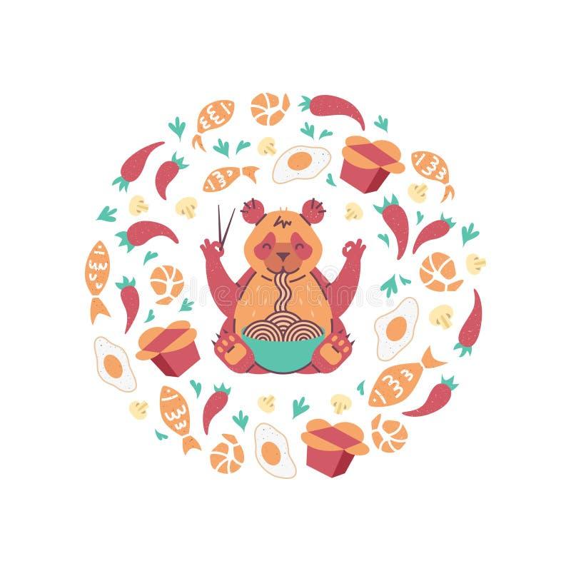 Panda roja que come los tallarines con los palillos Comida que vuela en la composición del círculo Cartel para el chino, café jap libre illustration