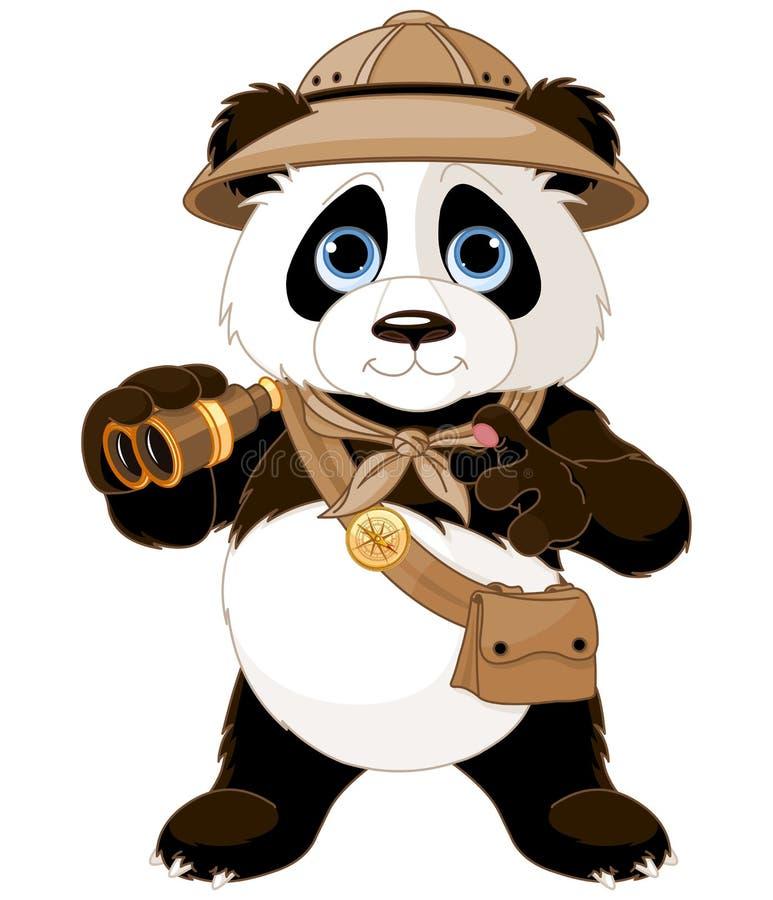 Panda Safari Explorer. With binoculars