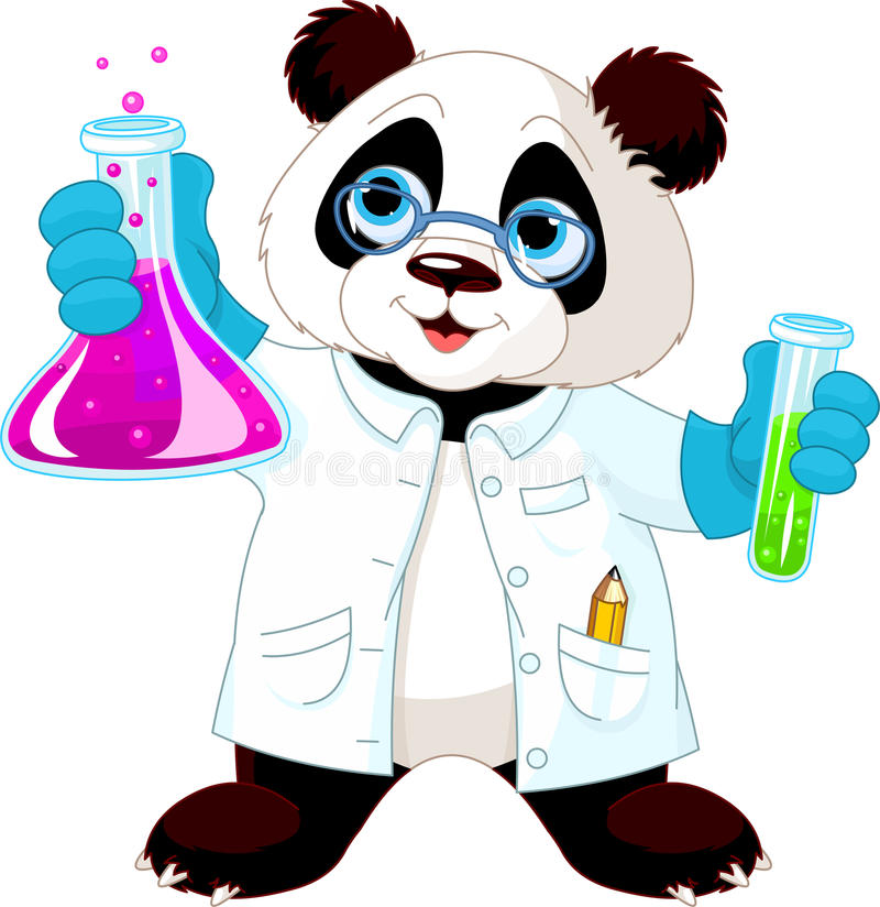 Panda Scientist royaltyfri illustrationer