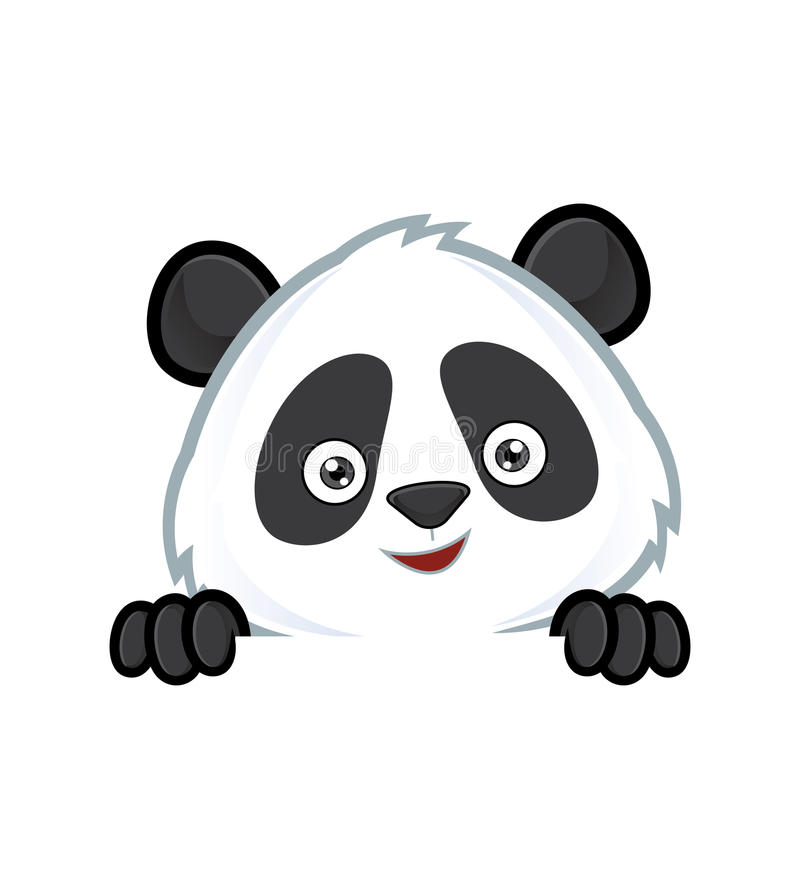 Panda se tenant et regardant au-dessus d'un panneau vide de signe illustration libre de droits