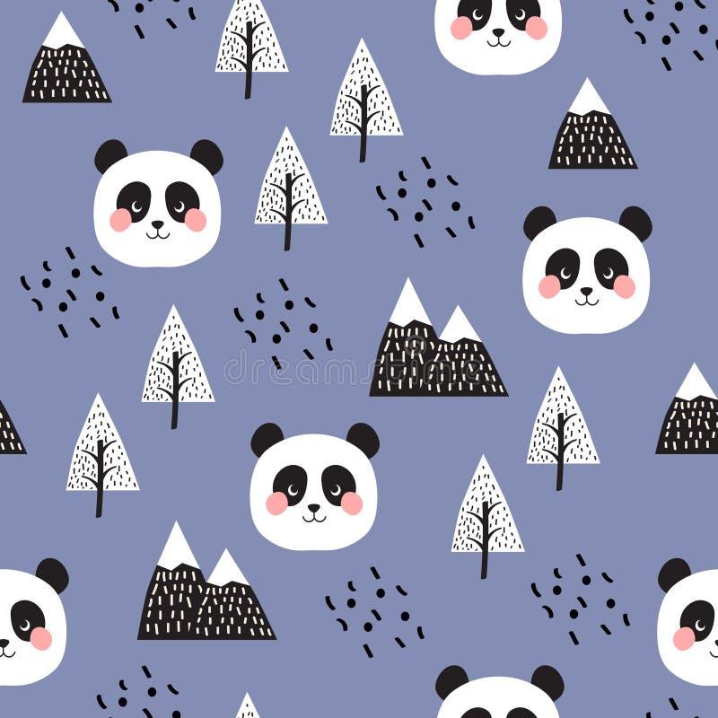 Panda Seamless Pattern Background stock illustrationer