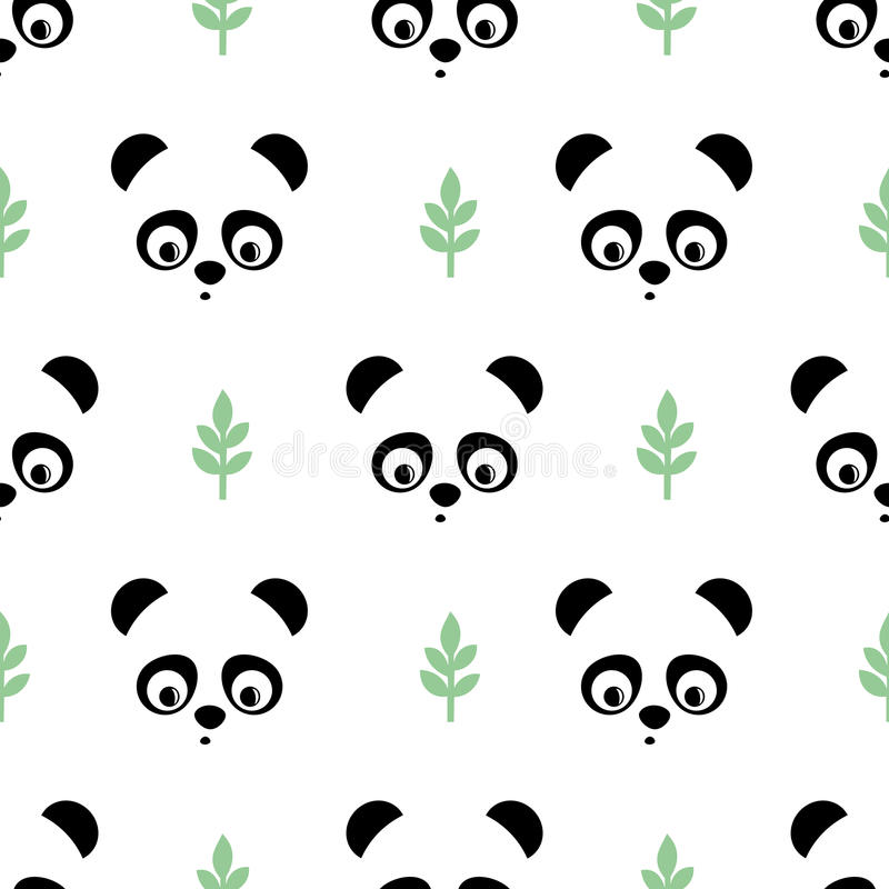 Panda seamless pattern with green twigs. Cute vector background with baby animal panda. royalty free illustration