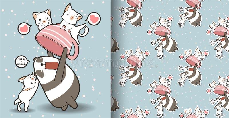 A panda sem emenda do kawaii está guardando um copo com teste padrão dos gatos ilustração royalty free