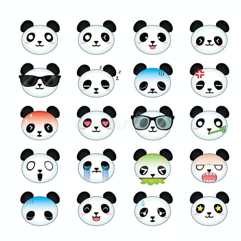 Free Panda Smiley Face Icons Set. Royalty Free Stock Photos - 44408748