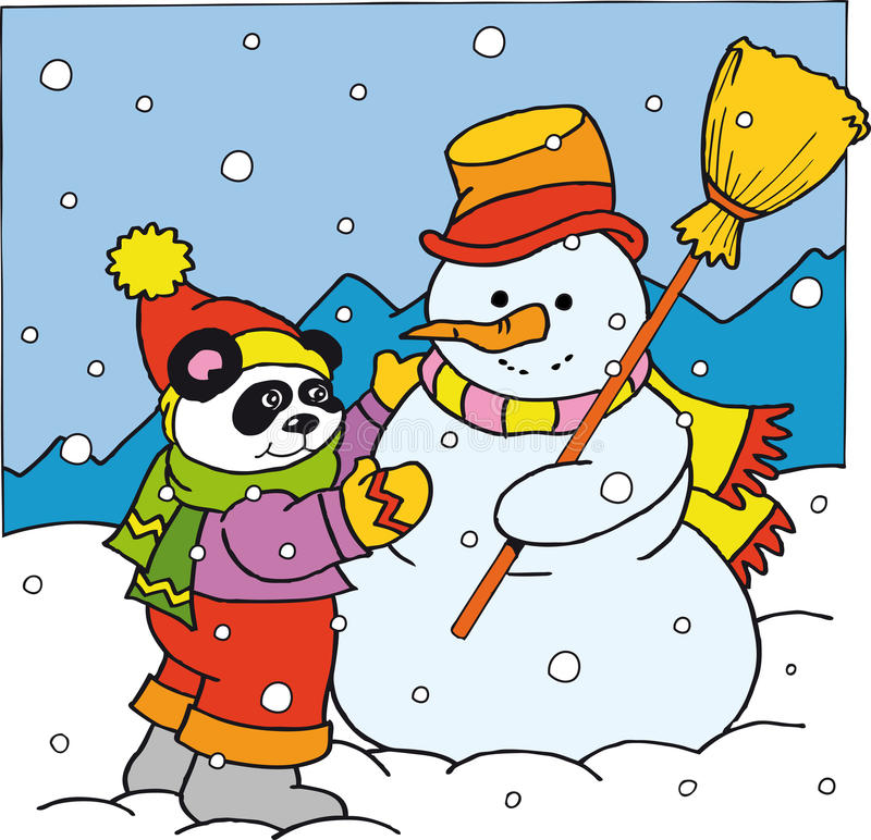 Panda and the snowman stock photography