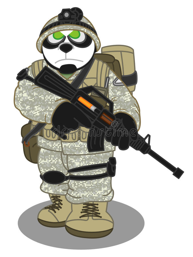 Panda Soldier-stijl 2 stock afbeelding