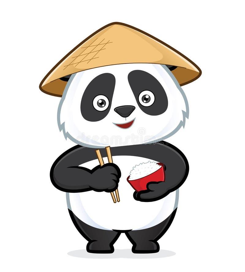 Panda som rymmer en bunke av ris och pinnar