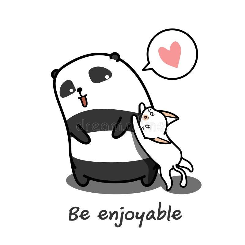 Panda spielt Katze stock abbildung