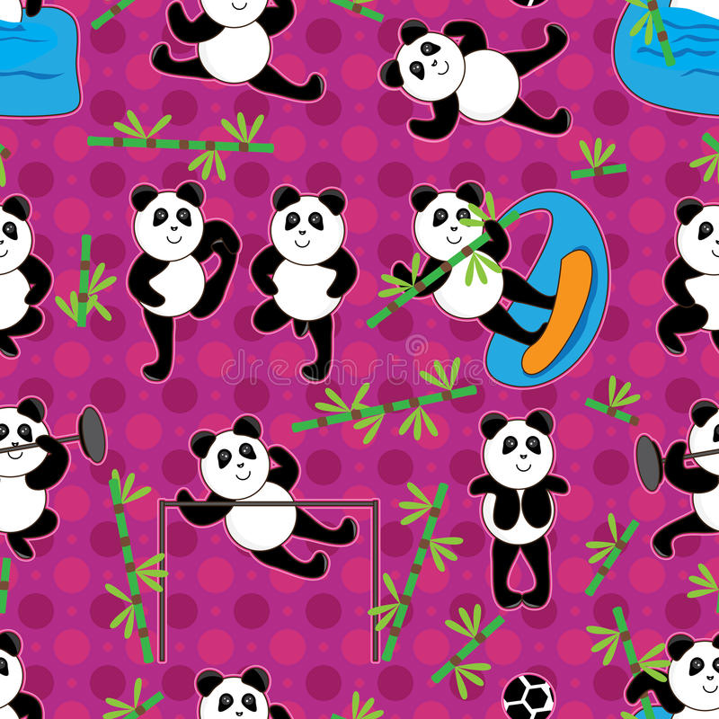 Panda Sport Bamboo Seamless Pattern_eps Royalty Free Stock Image