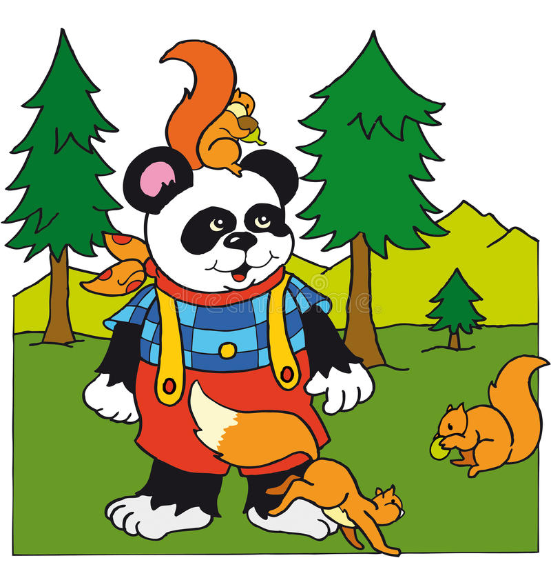 Panda with squirrels royalty free stock photo