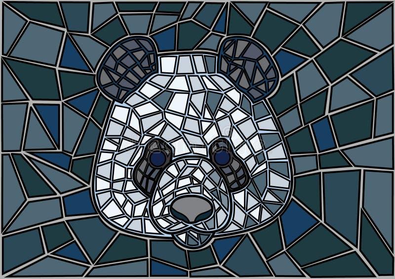 Panda Stained-de zwarte grijze achtergrond van het glasmozaïek royalty-vrije illustratie