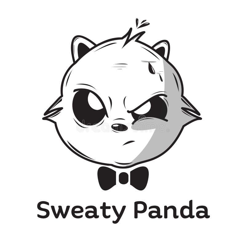 Panda suado com o laço para a mascote ou o molde do logotipo ilustração royalty free