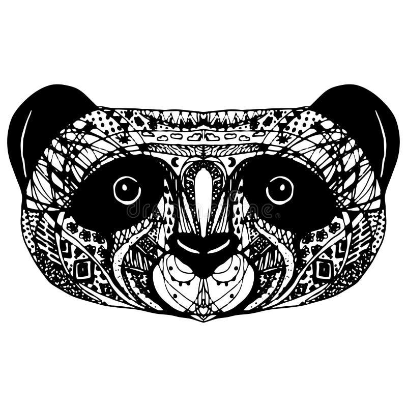 Panda sulla testa bianca del a mano disegno del fondo Vettore illustrazione vettoriale