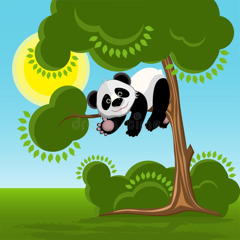 Panda sur l'illustration d'arbre illustration libre de droits