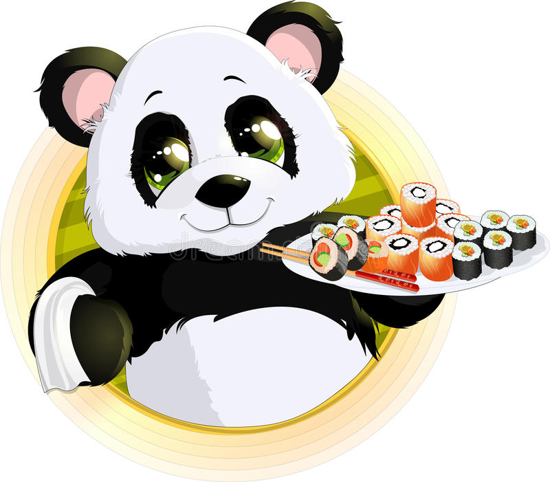 Panda sushi royalty free illustration