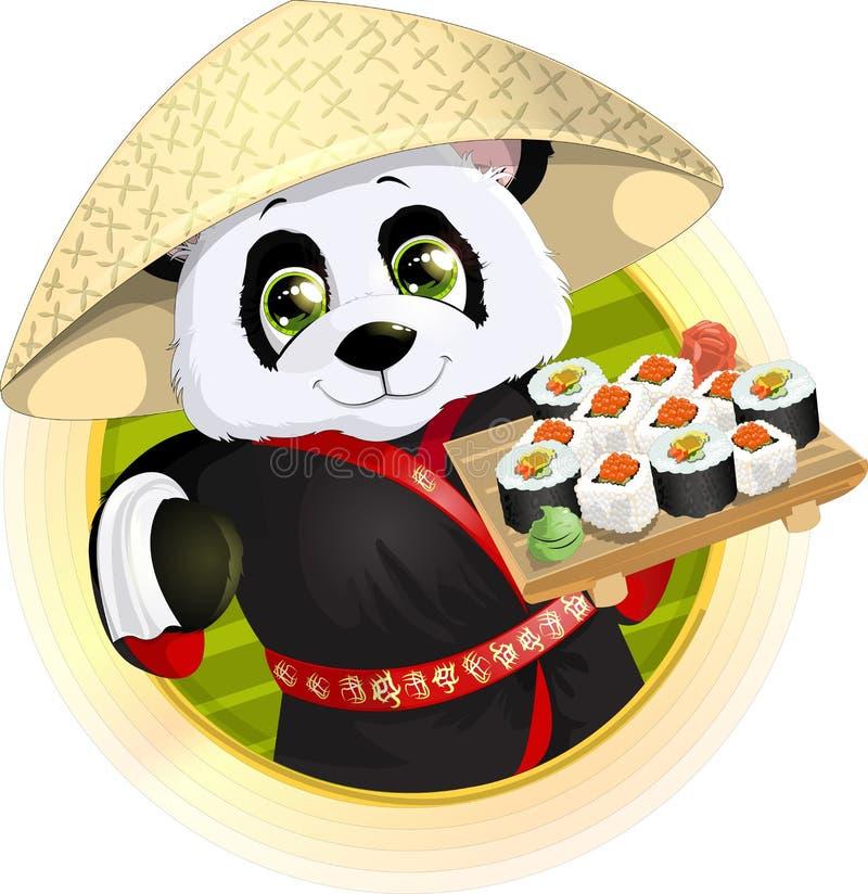 Panda sushi. Beautiful Panda holding in his paws a tray of sushi stock illustration