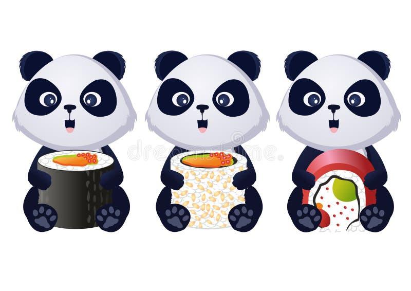 Panda with sushi. Vector Panda with sushi set stock illustration