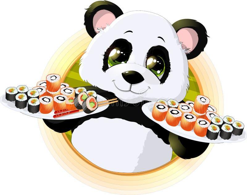 Panda suszi royalty ilustracja