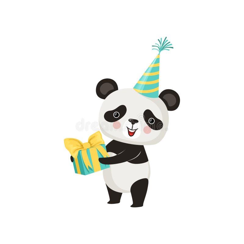 Panda sveglio in cappello del partito con il contenitore di regalo in zampe Orso di bambù adorabile con le guance rosa Progettazi royalty illustrazione gratis