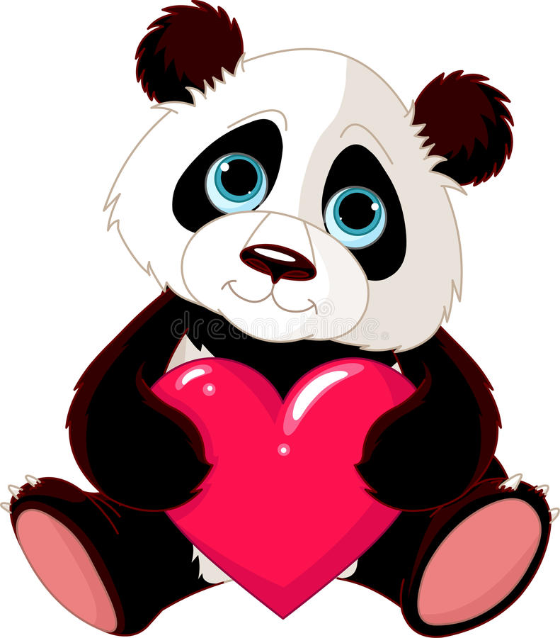 Panda sveglio con cuore royalty illustrazione gratis