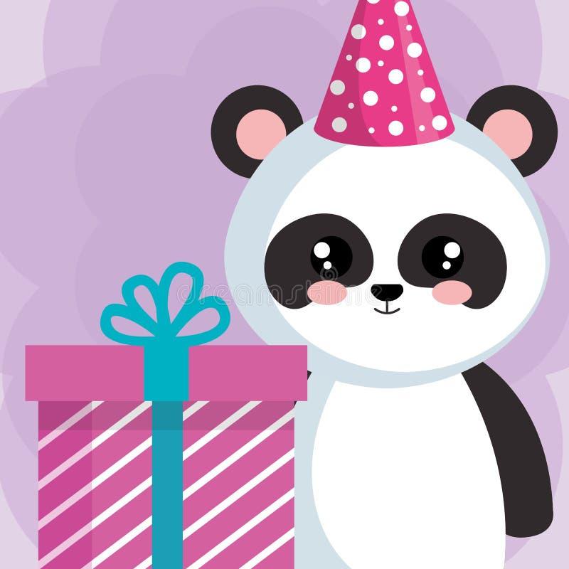 Panda sveglio dell'orso con il regalo illustrazione vettoriale