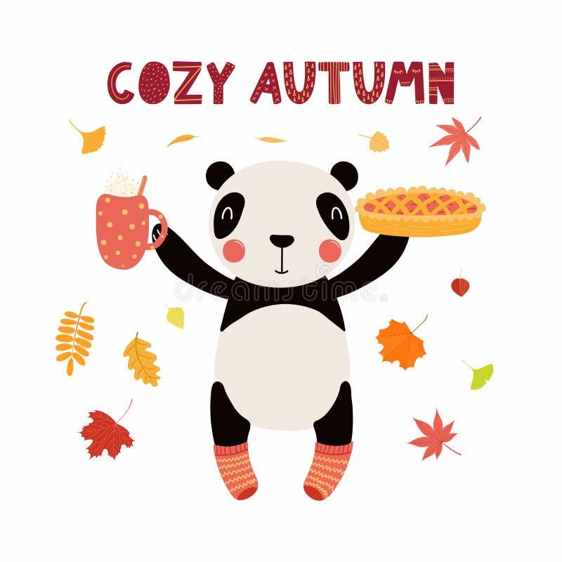 Panda sveglio di autunno royalty illustrazione gratis