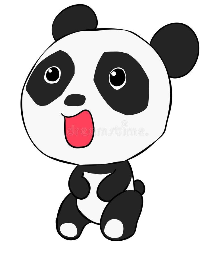 Panda sveglio isolato su fondo bianco immagine stock libera da diritti