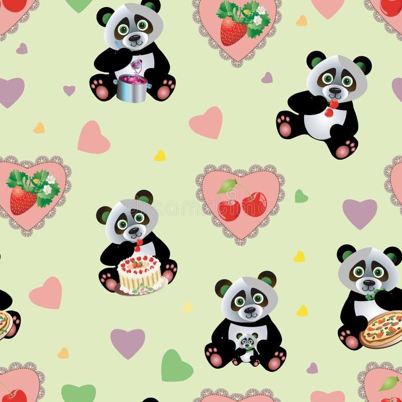 Panda Sweet Seamless ilustración del vector