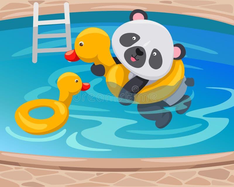 Panda swimming with duck tube stock illustration